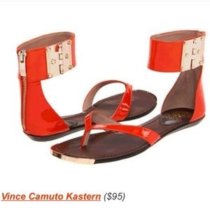 VINCE CAMUTO Patent Ankle Strap Sandals LIKE NEW